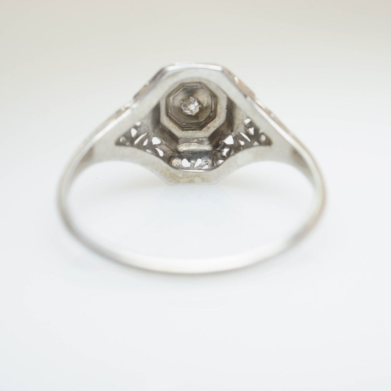 Vintage Art Deco Single Cut Diamond Engagement Ring in 14k White Gold