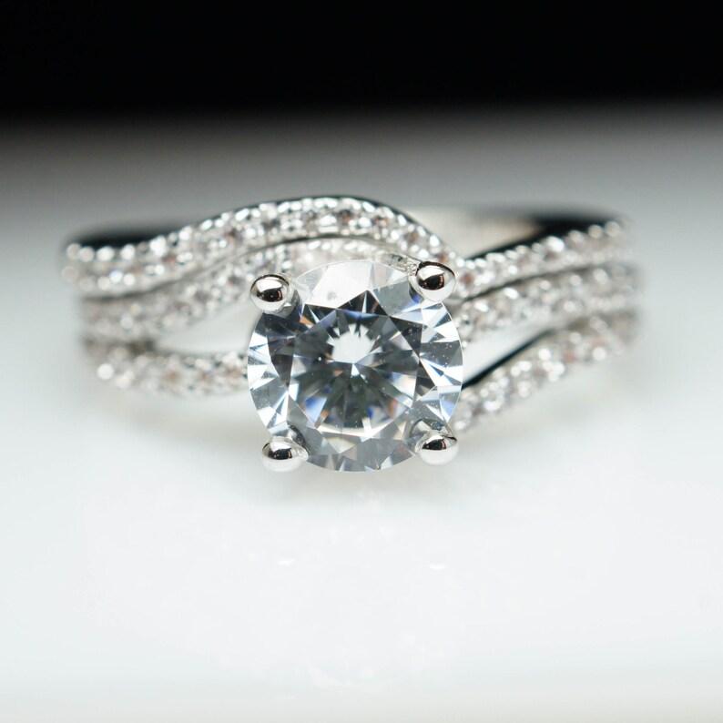 c4936a361 Diamond Swirl Diamond Solitaire Engagement Ring & Matching | Etsy