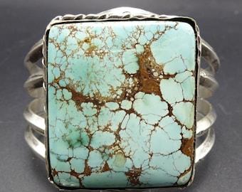 Huge Vintage Navajo Sterling Silver & DRY CREEK TURQUOISE Cuff Bracelet 115.8g