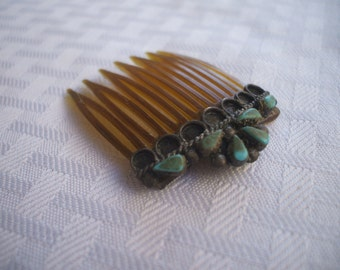 Very Old 1930s ZUNI Hair Comb, Sterling Silver & TURQUOISE Cluster Petit Point