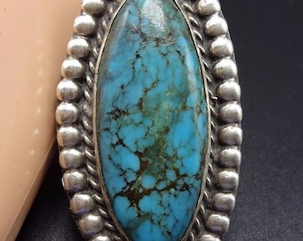 Vintage NAVAJO Sterling Silver & Deep Blue Webbed TURQUOISE RING, size 9.25