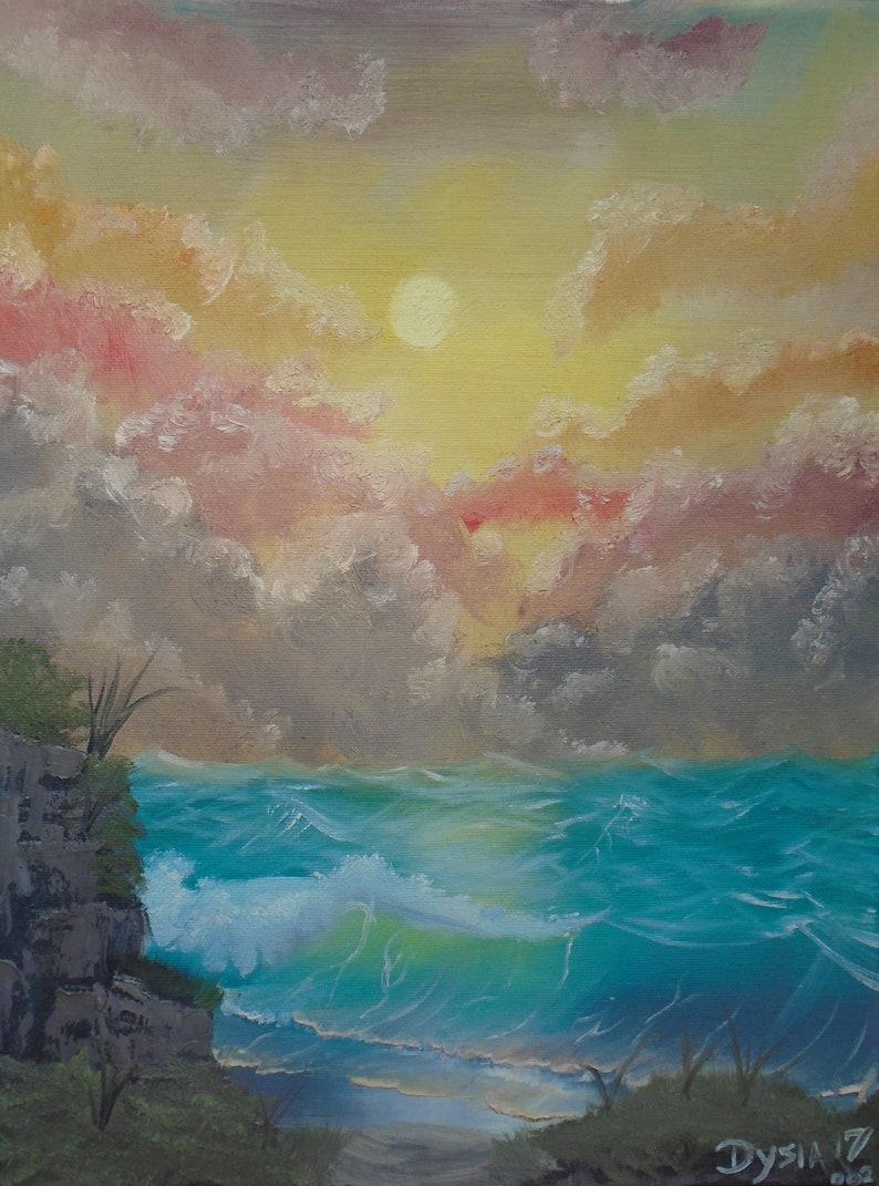 Ocean Sunrise Original Oil Painting All-Over Print Kids Swimsuit