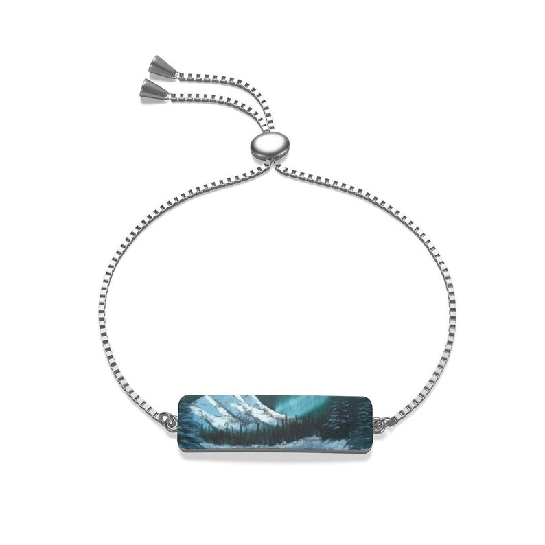 Northern lights in Winter Mountain Forest Sterling Silver or 18K Gold Plated Box Chain Bracelet