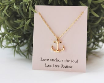 Anchor necklace/ Dainty anchor necklace/ Anchor pendant/ Valentine's Day necklace/ Bridesmaid necklace/ Friendship necklace/ Birthday gift
