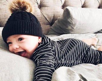 07785a7bbfb Baby wool beanie Baby pom beanie Baby beanie Toddler beanie Baby winter hat Baby  hat Knitted baby beanie Knit baby hat Newborn baby beanie
