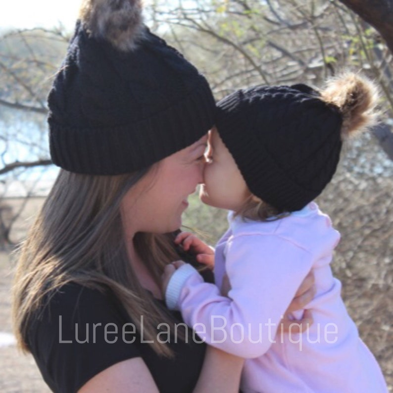 6e0b2c4dc1861 Mom and me beanie  Mom   me hat  Mother daughter hat  Mommy