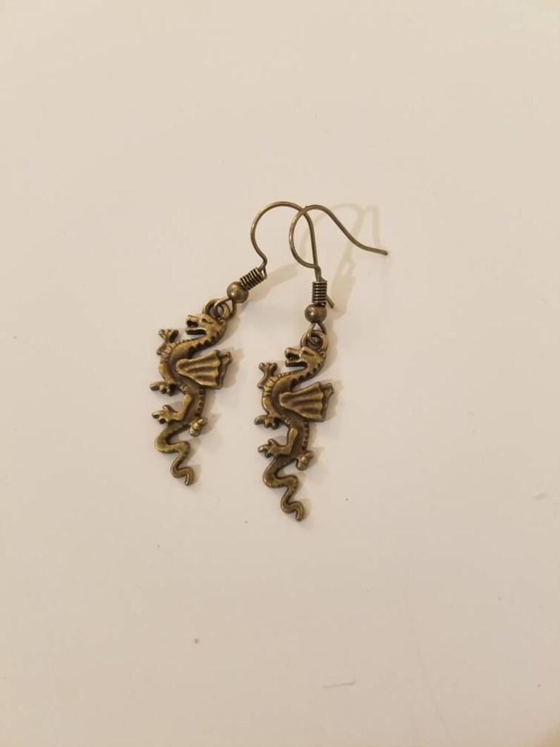 1990s Vintage Style Earrings Little Antique Brass Dragon Dangle Earrings for Pierced Ears
