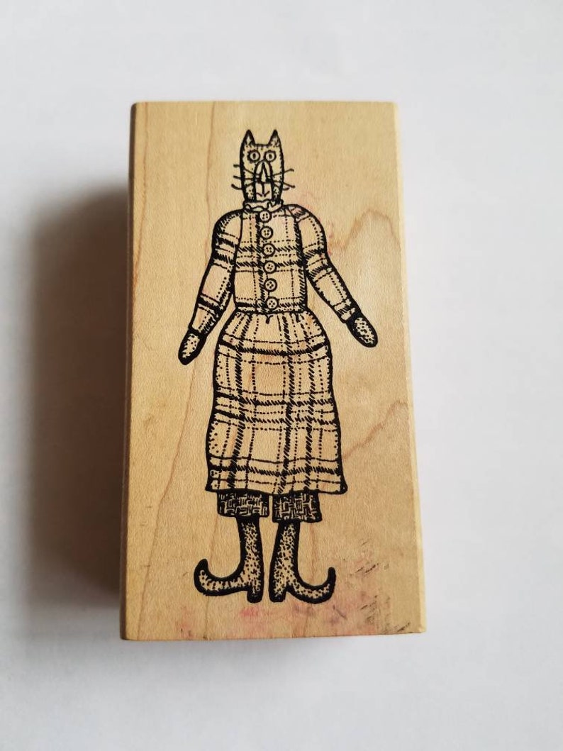 1990s Vintage Carmen/'s Veranda Primitive Country Large Cat Rubber and Wood Collectible Stamp EE 1983 1996 Large Stamp