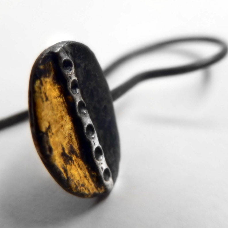 Black oval Keum boo earrings Blackened sterling silver and gold earrings Small dark silver earrings perfect Valentine/'s gift for her.