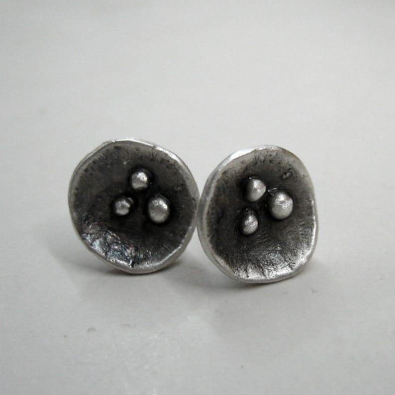 6a5b78374 Minimalist Studs Dark Flower Ear Studs Oxidized Silver | Etsy