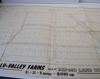 Vintage Real Estate Map California/Lu Valley Farms Housing Plan