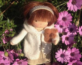 Waldorf doll 10 inches / 25 cm - Oria and rabbit friend