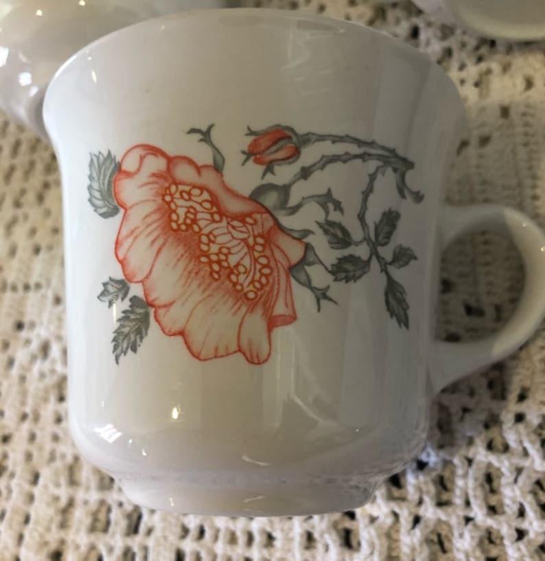 Vintage Corning floralpoppy mugs set of 6