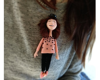 Custom doll, Look alike doll brooch, birthday gift, personalized doll pin, mini me doll, personalized gift, from Picture to Figurine, ooak