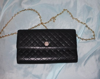 4d8c3daf7229dc I Reduced 100.00 till 12 /20 Authentic Chanel Black quilted Lambskin CC  Wallet added chain for crossbody wallet WOC
