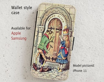 iPhone Case (all models) - Alice in Wonderland Vintage Illustration - Wallet flip case -  Samsung Galaxy S6 - S20 Plus & more