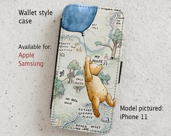iPhone Case (all models) - Winnie the Pooh - Wallet flip case -  Samsung Galaxy models S6 - S20onwards