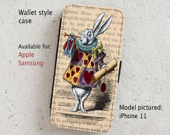 iPhone Case (all models) - White Rabbit - Alice in Wonderland Vintage Illustration - Wallet flip case - Samsung Galaxy S6-S20 Plus & more