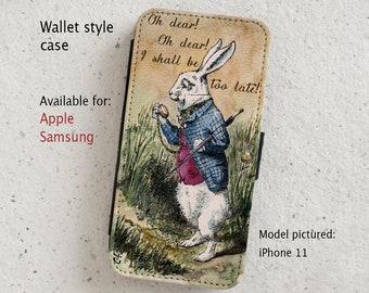 iPhone Case (all models) - White Rabbit - Alice in Wonderland - Vintage illustration - Wallet flip case -  Samsung Galaxy models S7 onwards