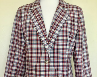 Vintage Lanz Original Women's Plaid Blazer- Navy, Red, Cream