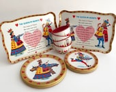 Vintage Queen of Hearts Nursery Rhyme 14-Piece Lithograph Metal Toy Tea Set