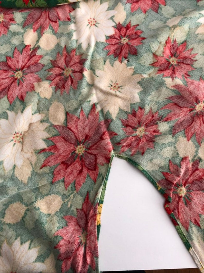 Vintage Christmas Tree Skirt with Red and White Poinsettias and Pinecones