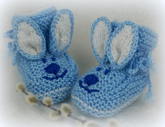 Blaue stricken Baby Booties Bunny häkeln Baby jungen Booties   Etsy