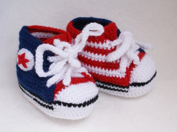 Baby Booties American Flag Knitted Baby Converse Booties Etsy