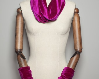 Velvet Cowl and Wrist Warmers Set in Magenta by Megan Crook Textiles