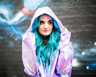 Holographic Rain Coat in Unicorn Opal by Get Crooked