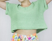 SALE - Neon Corset Shorts in Multicoloured Floral Stretch Denim by Get Crooked