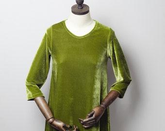 ace7a91844c2 Green Velvet Swing Dress