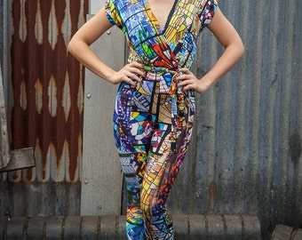 5c9f469a123 Cross Front Jumpsuit in Stained Glass Digital Print Jersey by Get Crooked
