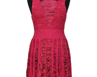 Peek-a-boo Tier Dress in Coral Red by Crooked Knitwear (SALE)