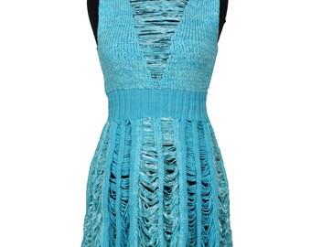 Peek-a-boo Tier Dress in Turqoise by Crooked Knitwear (SALE)