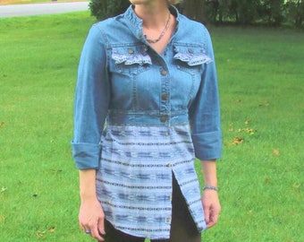 Jean jacket tunic upcycled refashioned western eco friendly