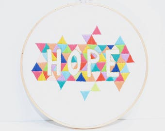 Hope wall embroidery