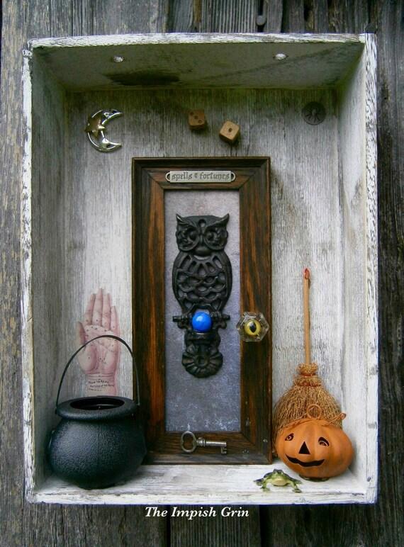 Repurposed Recycled The Doorway Halloween Shadowbox Assemblage