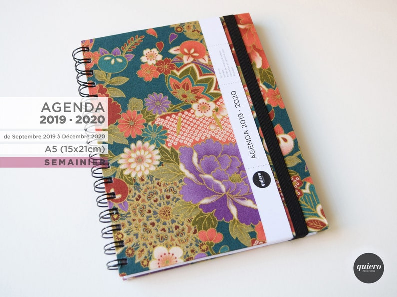 Agenda A5 2019-2020-Japanese flowers and green-15x21cm image 0