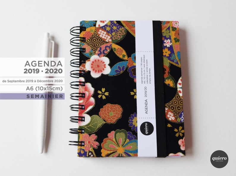 Agenda A6 2019-2020-Japanese fabric-black image 0