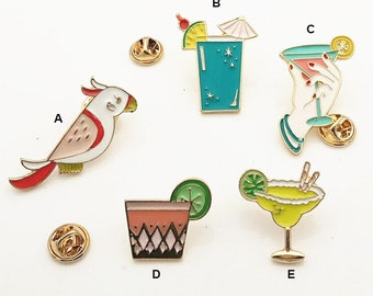 Cute Drinks Enamel Pins