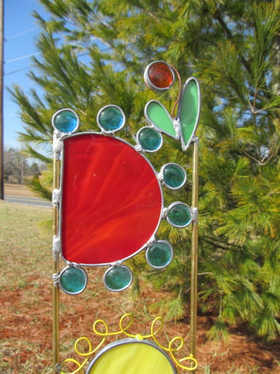 Stained Glass Garden Art U0027Wildflowers Garden Stakeu0027 | Etsy