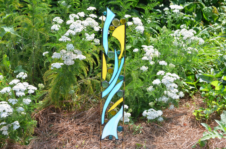 Stained Glass Garden Ornament, Blue And Yellow Yard Art, U0027Rise U0026 Shineu0027
