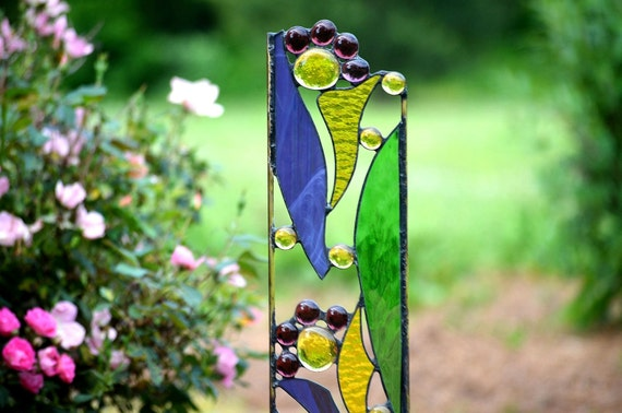 Midnight Mojito Purple /& Green Stained Glass Wall-Hanging Planter