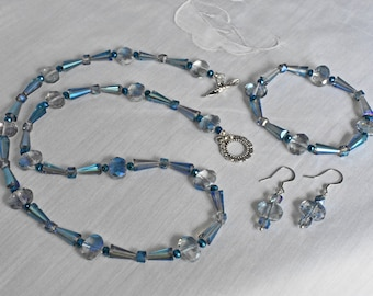Blue Glass Luster Oval and Drop, Blue Glass Faceted Cube and Blue Glass Iris Rondelle Necklace, Bracelet and Earring Set, Beaded Jewelry Set