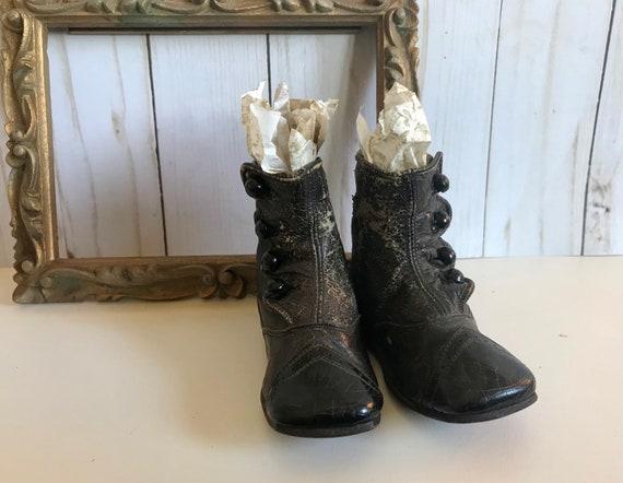 Pair of Antique Black Victorian Children's Boots