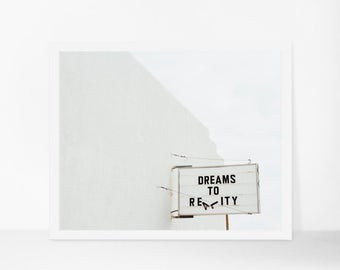 Bedroom Wall Art, Minimalist Art Print, Dreams to Reality, Marfa Texas Photography, White Wall Decor, Eclectic Wall Art