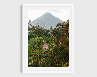 Costa Rica Landscape Photography, Arenal Volcano Art Print, Tropical Botanical Wall Art, Nature Art for Home Office