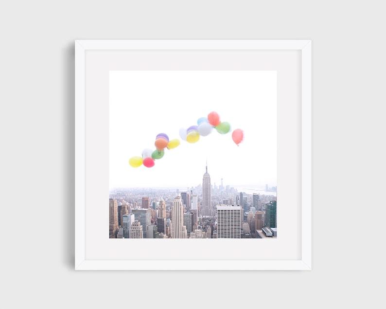 Balloons Over New York Wall Art New York Nursery Art image 1