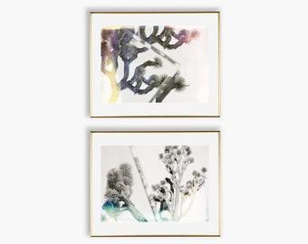 Joshua Tree Wall Art Set of 2 Prints, Minimalist Gallery Wall Set, Abstract Nature Wall Decor, Light Leak Film Photography, Large Wall Art